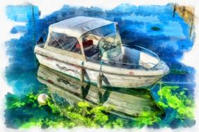 boat fishing harbour drawing