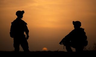 Silhouettes Soldiers sunset