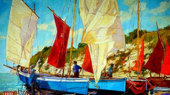 oil painting boat drawing