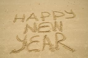 Sand text happy new year