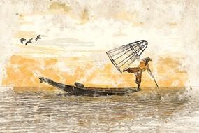 person fishing boat drawing