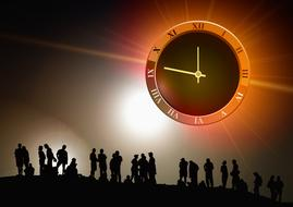 group clock time silhouette