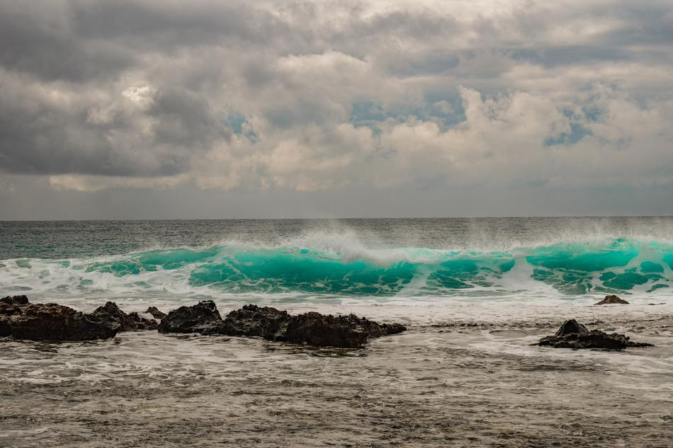 turquoise waves on the coast of cyprus in the storm