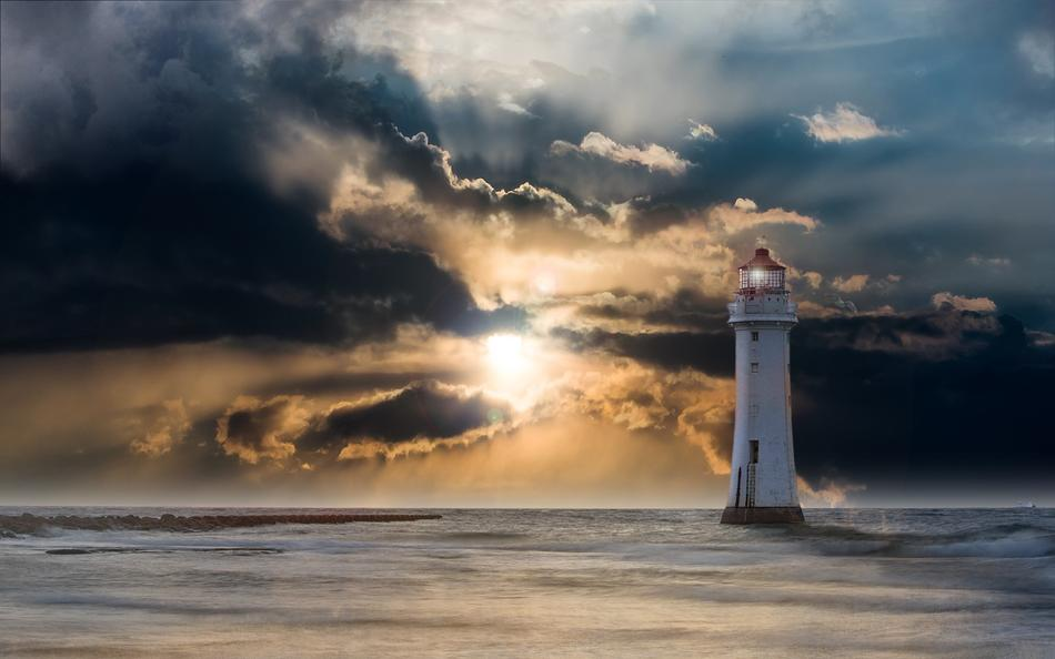 magnificent Lighthouse Glow Evening