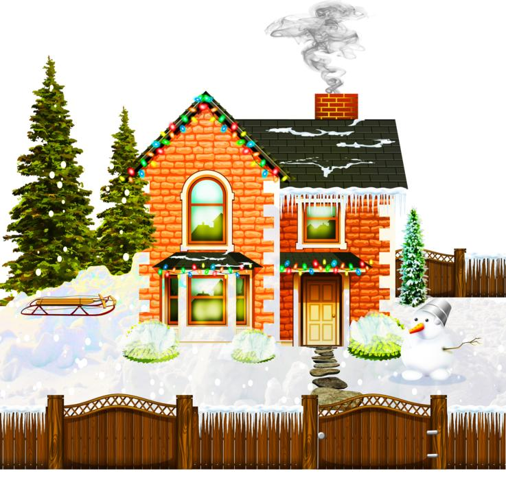 christmas house decoration drawing