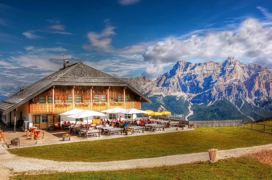 panoramic view of a mountain hotel in south tyrol