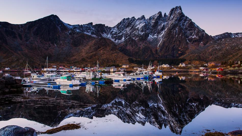 boats in the harbor in Northern Norway