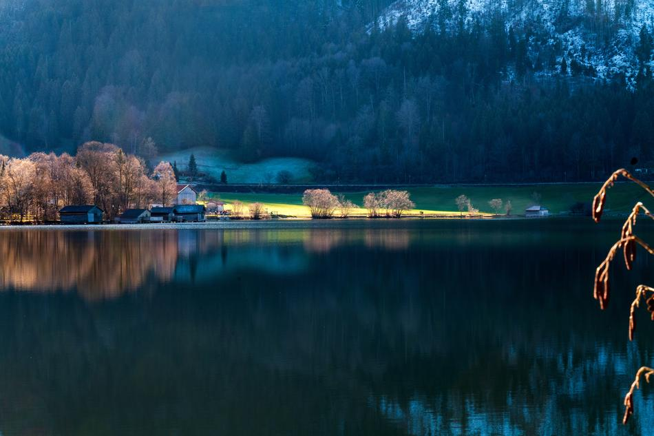 panoramic view of Schliersee Lake in the bavarian mountains