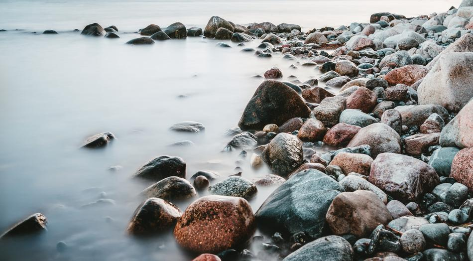 pebbles on the shore of the island of Rugen in the Baltic Sea
