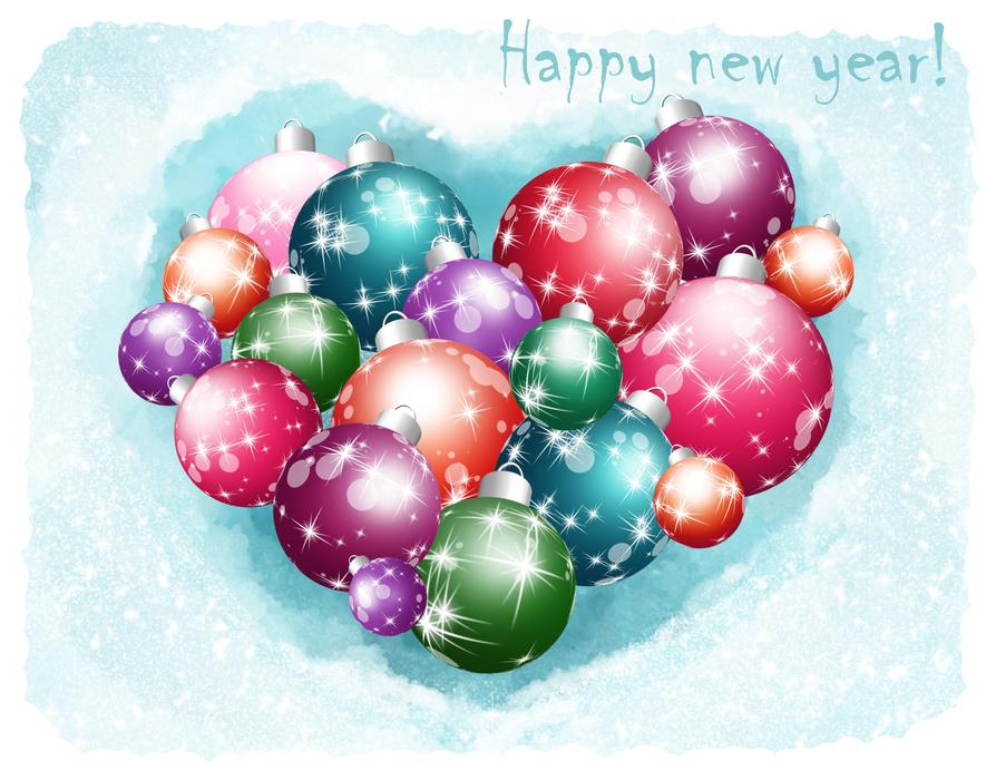 happy new year christmas balls heart postcard drawing