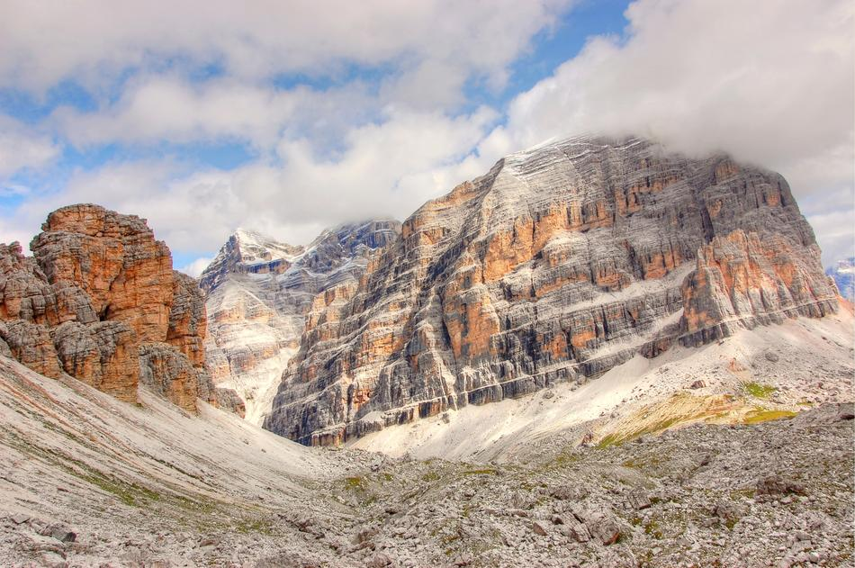 Landscape of beautiful and colorful Tofane on Dolomites in Italy