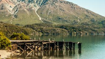 wooden pier on the lake in Argentina