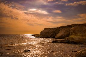 orange Sunset Cliff Coast
