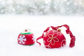 Christmas Ornaments Red snow