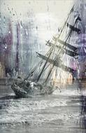 sailing ship stuck wrack oil drawing