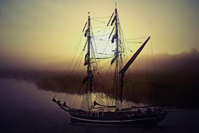 Ship Sailing Vessel sunset