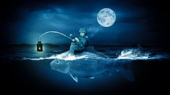 fantastic image of a boy with a fishing rod on a big fish against the background of the night sky