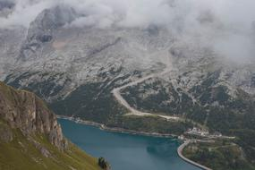 Dolomites Mountains and river