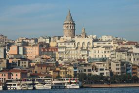 Galata Tower city and boats