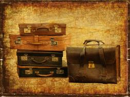 luggage vintage suitcase travel poster