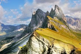 Panoramic view of the picturesque dolomites in South Tyrol