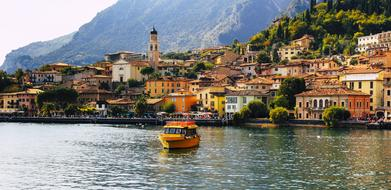 Limone Garda city and boat