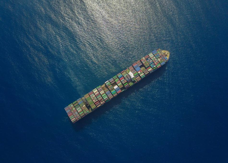 Container Ship view from a drone