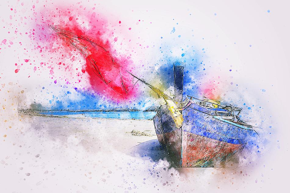 boat sea ship art abstract drawing