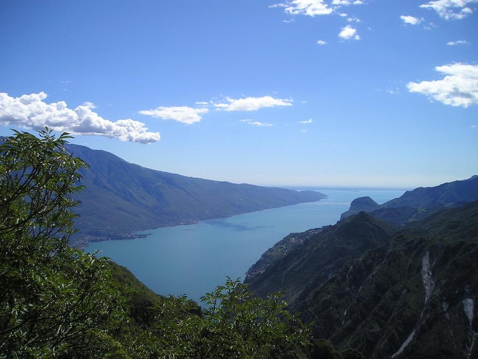 panoramic view of lake garda on a clear sunny day