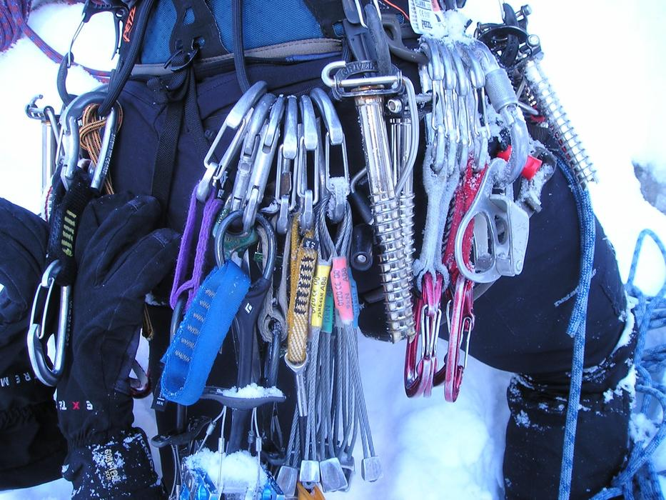 photo of climbing carabiners