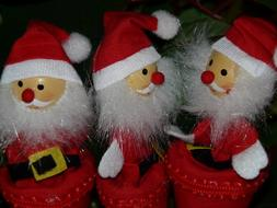Beautiful red and white Santa Claus figures