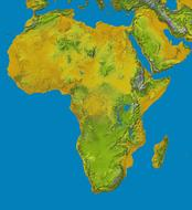 africa map relief land continent