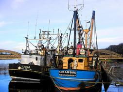 fishing ships in the harbor in Scotland