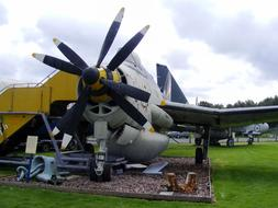 plane with double nose propeller in open air museum