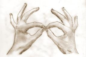 pencil drawing of human hands