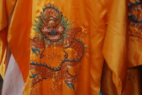 embroidery on a silk robe