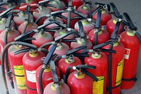 red fire extinguishers in stock
