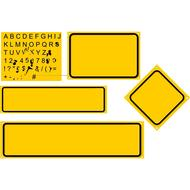 signs rectangles alaphabet yellow drawing