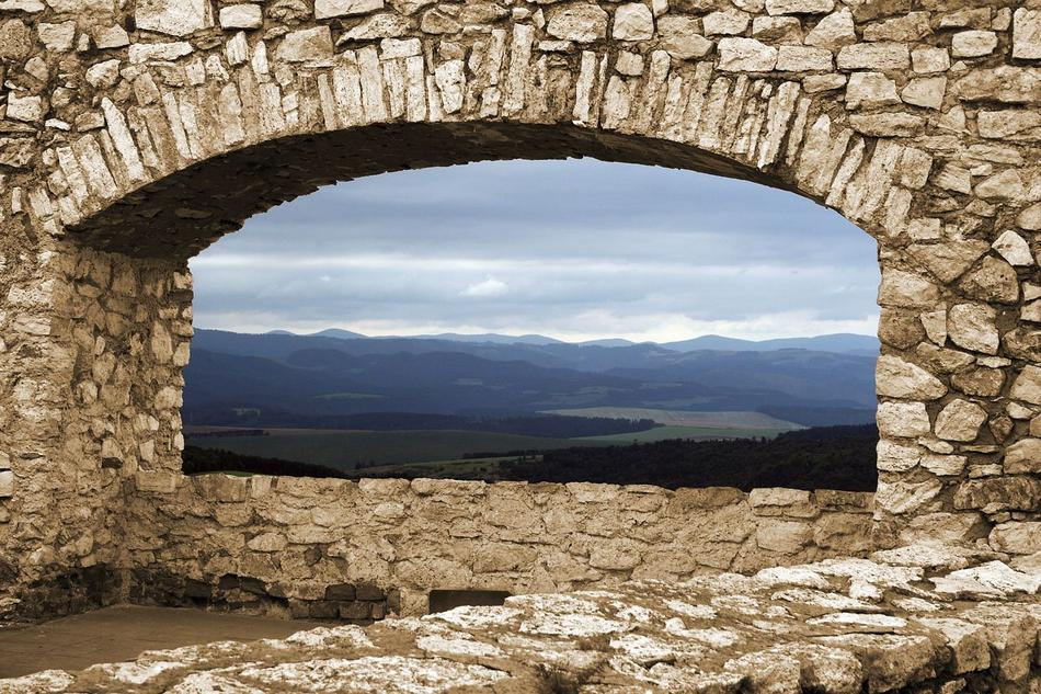 Castle stone window