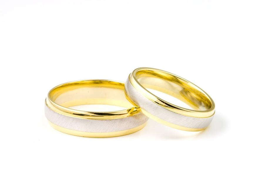 two rings of newlyweds on a white background
