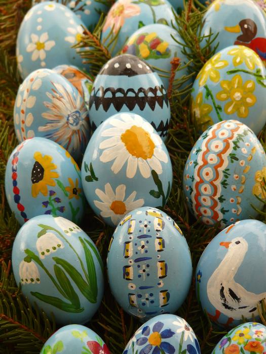 Easter Eggs Painted in rustic style