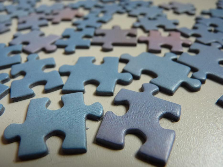 Puzzle Piece blue and purple