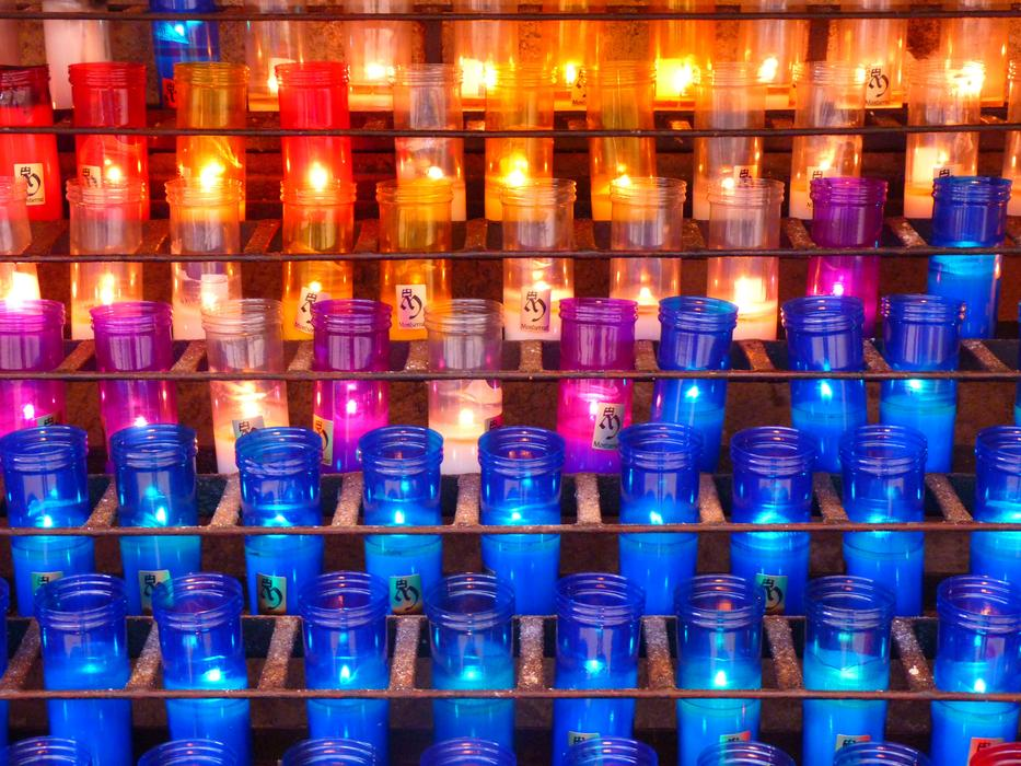 Beautiful and colorful candles with lights