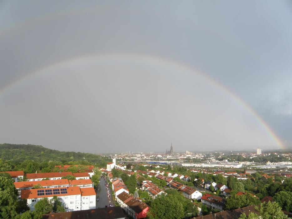 wide Rainbow over city, germany, ulm
