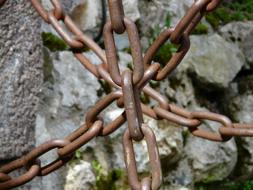 rusty metal Chains at rock