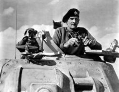 Bernard L Montgomery, British Army officer in tank, historical photo