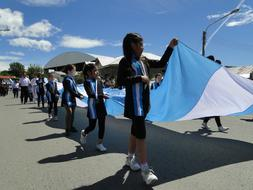 Parade Argentina flag people
