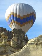 Colorful Hot Air balloon at limestone rock formations, turkey, cappadocia