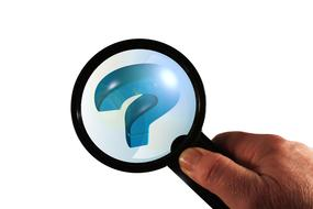 magnifying glass question mark hand
