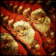Christmas decoration, Santa figurines, chocolates
